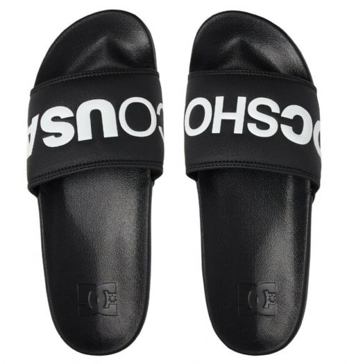 DC SHOES MENS SLIDERS.SLIDE BLACK SLIP ON BLACK FLIP FLOPS BEACH SANDALS 9S 43/B